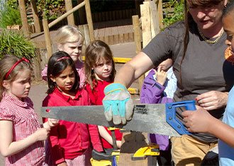 children sawing
