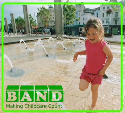 Starting a childcare group in Bristol: girl in water fountain with logo