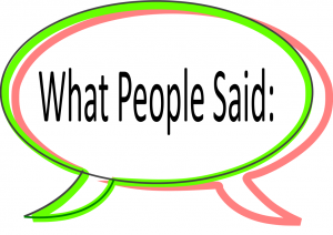 "Speech bubble icon "" what people said"""